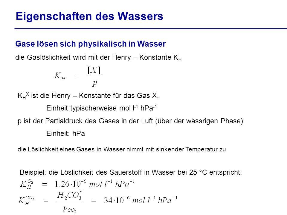 Eigenschaften des Wassers Gase lösen sich physikalisch in Wasser die Gaslöslichkeit wird mit der Henry – Konstante K H K H X ist die Henry – Konstante