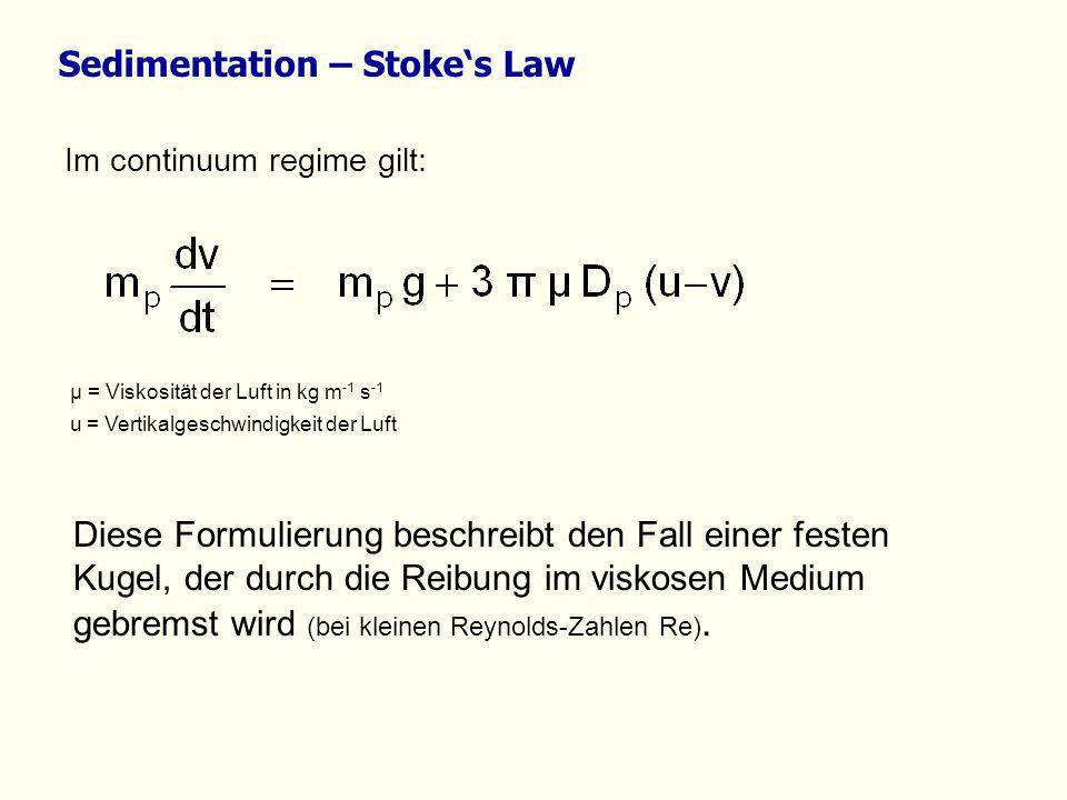 Im continuum regime gilt: µ = Viskosität der Luft in kg m -1 s -1 u = Vertikalgeschwindigkeit der Luft Diese Formulierung beschreibt den Fall einer fe