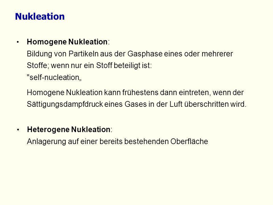 Homogene Nukleation: Bildung von Partikeln aus der Gasphase eines oder mehrerer Stoffe; wenn nur ein Stoff beteiligt ist: