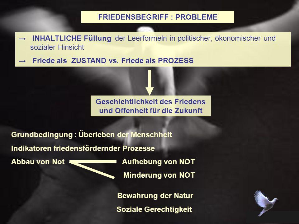 FRIEDENSBEGRIFF : PROBLEME INHALTLICHE Füllung der Leerformeln in politischer, ökonomischer und sozialer Hinsicht Friede als ZUSTAND vs. Friede als PR