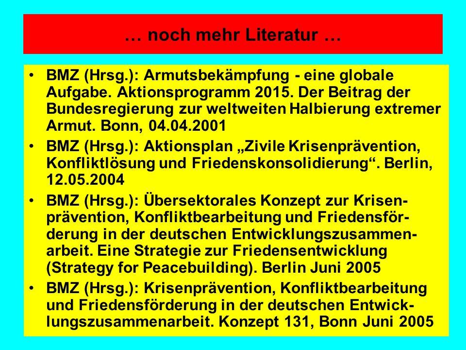 … noch mehr Literatur … BMZ (Hrsg.): Armutsbekämpfung - eine globale Aufgabe. Aktionsprogramm 2015. Der Beitrag der Bundesregierung zur weltweiten Hal