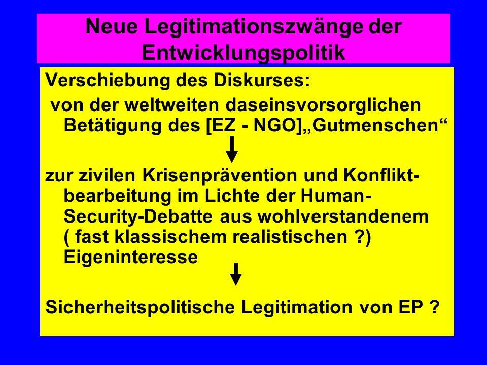 Neue Legitimationszwänge der Entwicklungspolitik Verschiebung des Diskurses: von der weltweiten daseinsvorsorglichen Betätigung des [EZ - NGO]Gutmensc