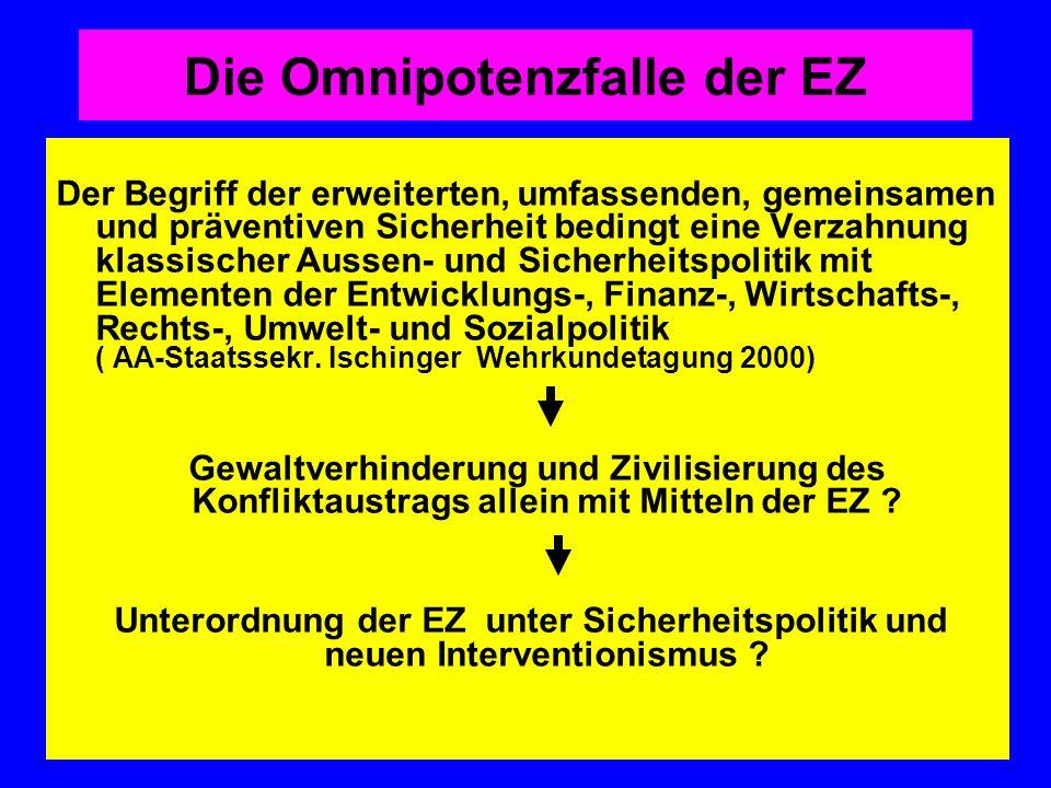Die Omnipotenzfalle der EZ Der Begriff der erweiterten, umfassenden, gemeinsamen und präventiven Sicherheit bedingt eine Verzahnung klassischer Aussen
