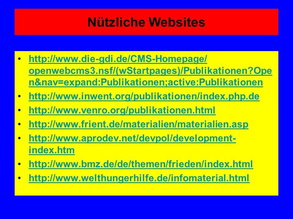 Nützliche Websites http://www.die-gdi.de/CMS-Homepage/ openwebcms3.nsf/(wStartpages)/Publikationen?Ope n&nav=expand:Publikationen;active:Publikationen
