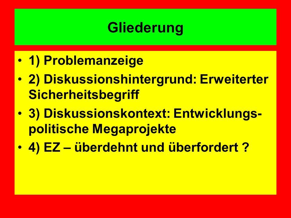 Gliederung 1) Problemanzeige 2) Diskussionshintergrund: Erweiterter Sicherheitsbegriff 3) Diskussionskontext: Entwicklungs- politische Megaprojekte 4)