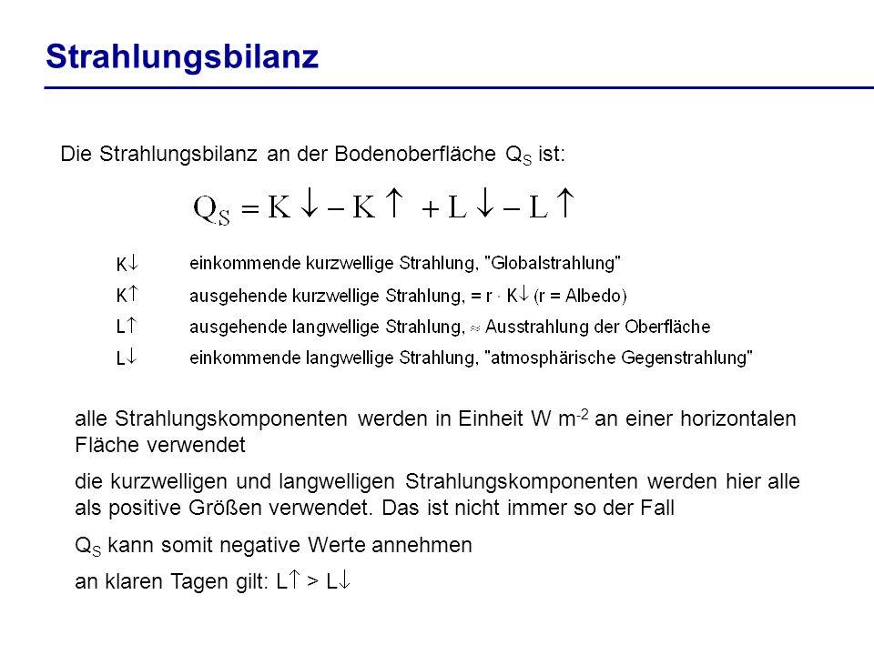 Strahlungsbilanz Die Strahlungsbilanz an der Bodenoberfläche Q S ist: alle Strahlungskomponenten werden in Einheit W m -2 an einer horizontalen Fläche