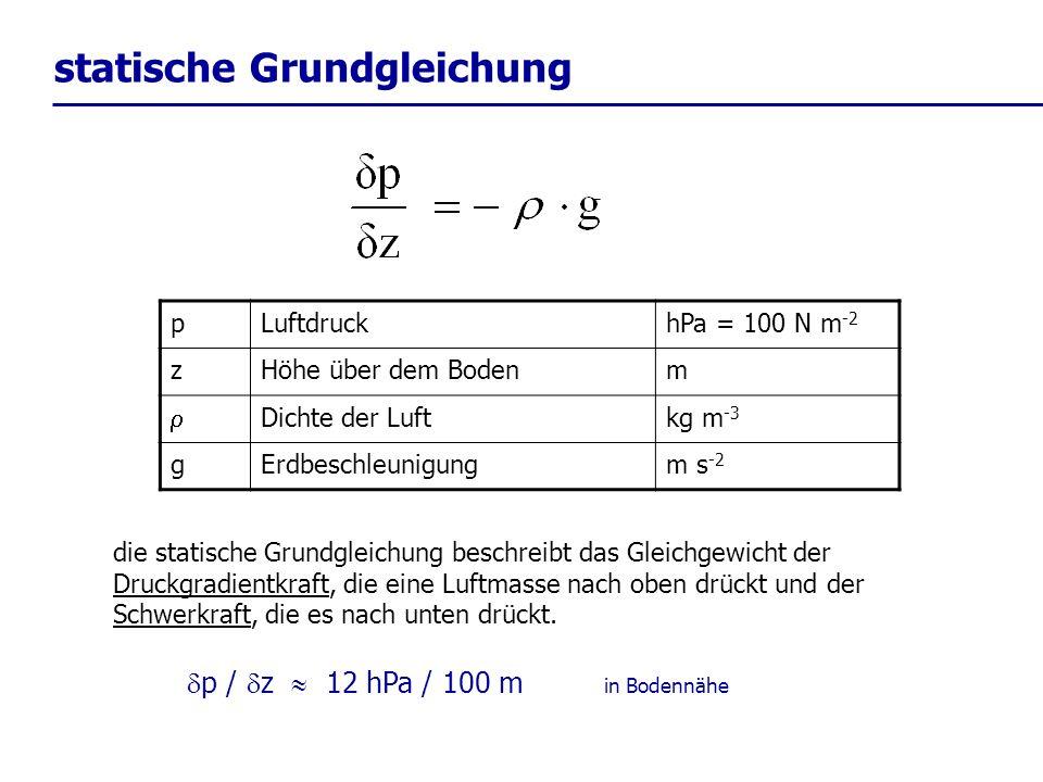 statische Grundgleichung die statische Grundgleichung beschreibt das Gleichgewicht der Druckgradientkraft, die eine Luftmasse nach oben drückt und der