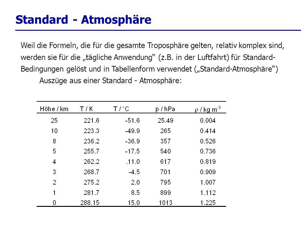 Standard - Atmosphäre Weil die Formeln, die für die gesamte Troposphäre gelten, relativ komplex sind, werden sie für die tägliche Anwendung (z.B. in d