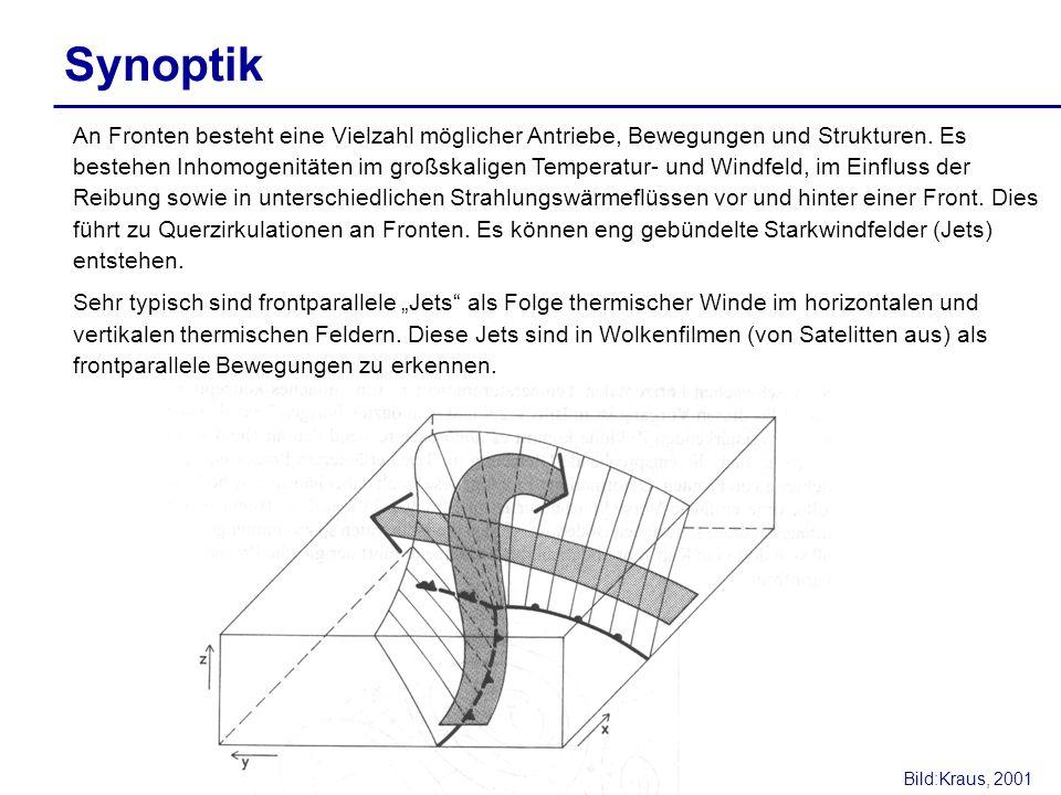 Synoptik An Fronten besteht eine Vielzahl möglicher Antriebe, Bewegungen und Strukturen. Es bestehen Inhomogenitäten im großskaligen Temperatur- und W