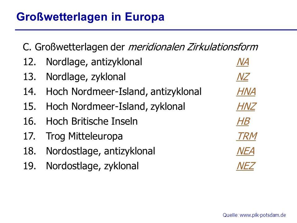 Quelle: www.pik-potsdam.de Großwetterlagen in Europa C. Großwetterlagen der meridionalen Zirkulationsform 12.Nordlage, antizyklonalNA 13.Nordlage, zyk