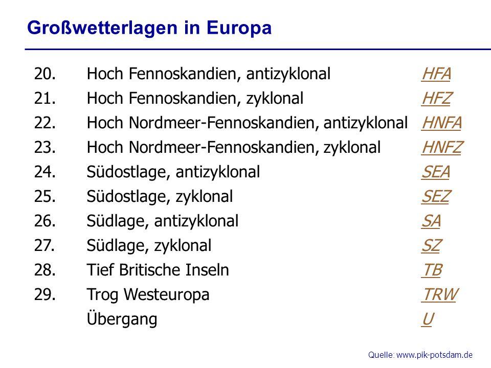 Quelle: www.pik-potsdam.de Großwetterlagen in Europa 20.Hoch Fennoskandien, antizyklonalHFA 21.Hoch Fennoskandien, zyklonalHFZ 22.Hoch Nordmeer-Fennos