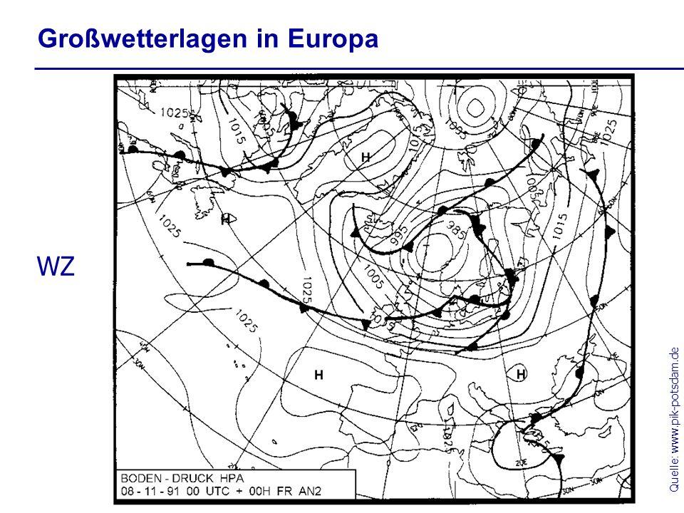 Quelle: www.pik-potsdam.de Großwetterlagen in Europa WZ