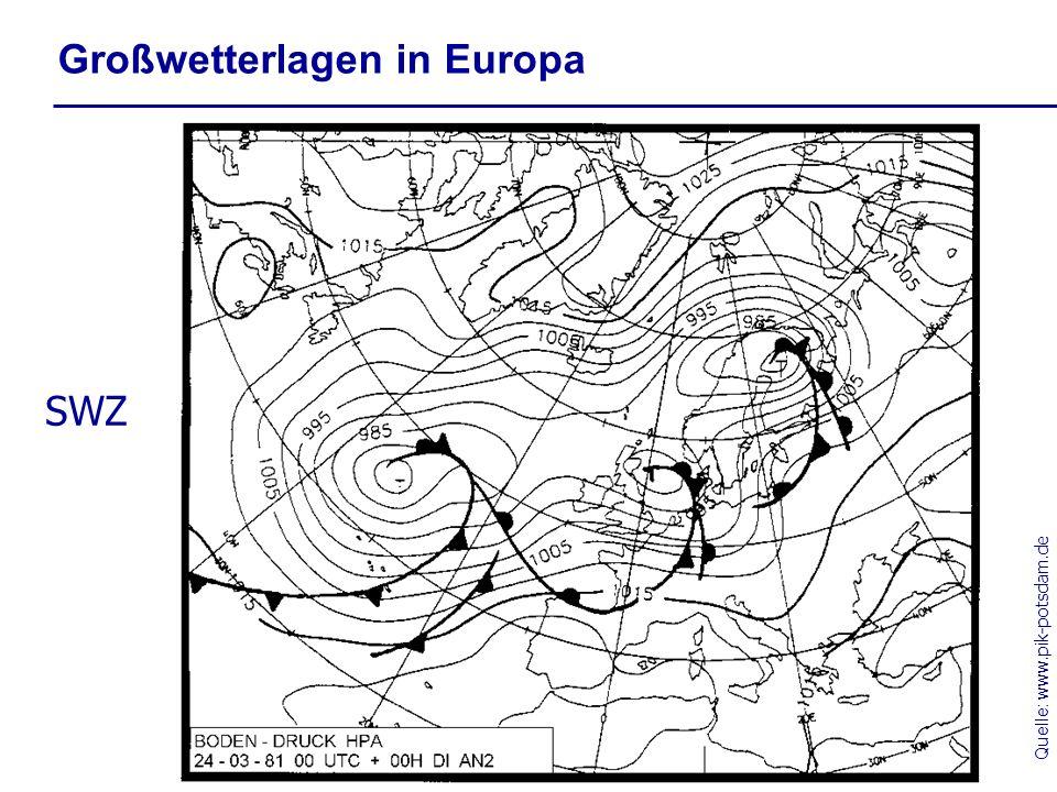 Quelle: www.pik-potsdam.de Großwetterlagen in Europa SWZ