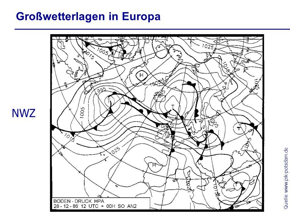 Quelle: www.pik-potsdam.de Großwetterlagen in Europa NWZ