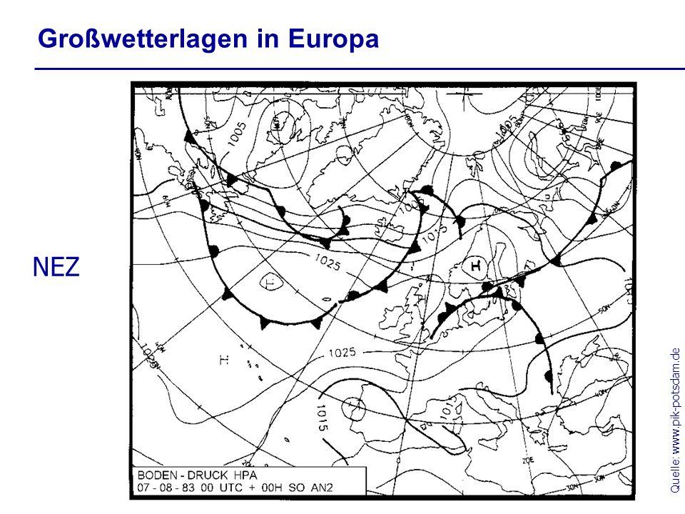 Quelle: www.pik-potsdam.de Großwetterlagen in Europa NEZ