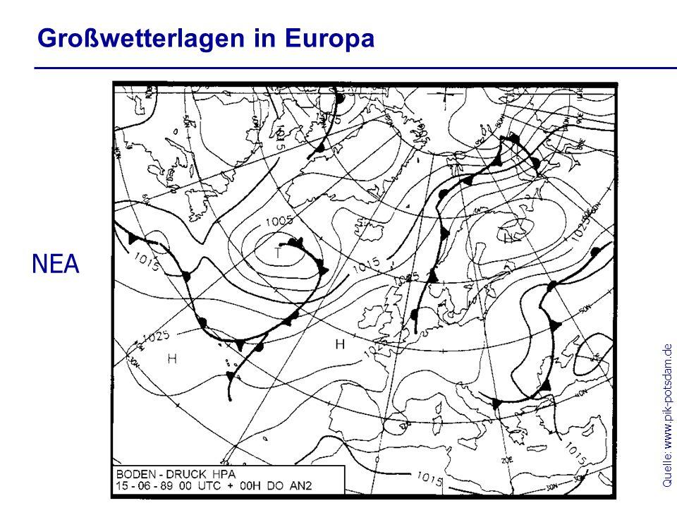 Quelle: www.pik-potsdam.de Großwetterlagen in Europa NEA