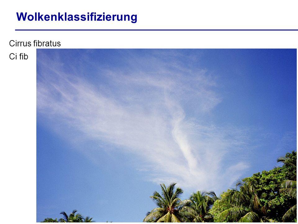 Wolkenklassifizierung Cirrus fibratus Ci fib