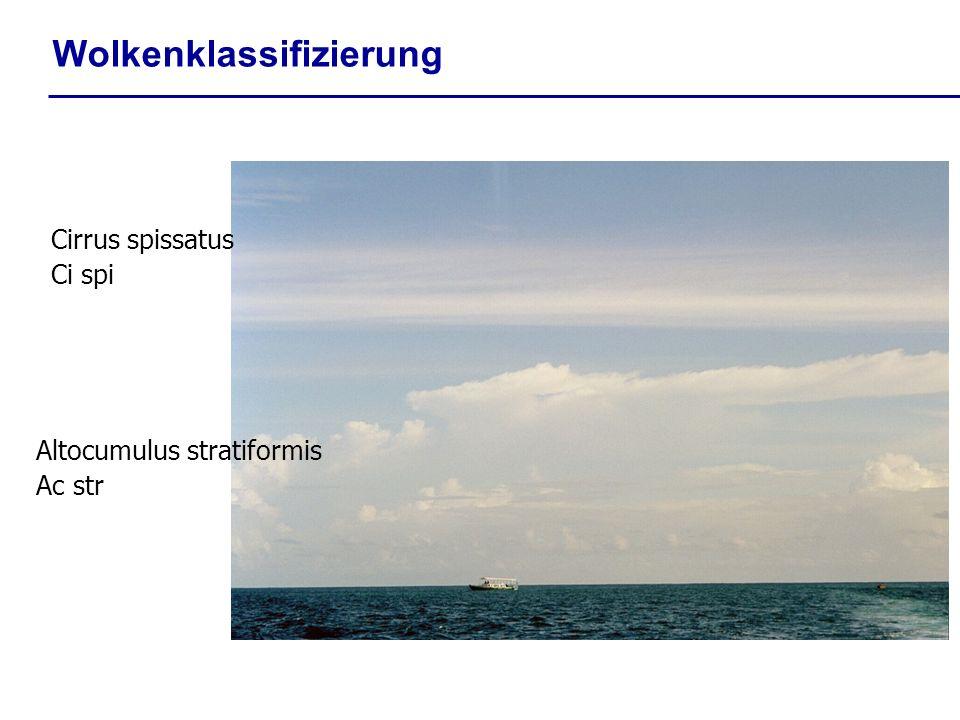 Wolkenklassifizierung Cirrus spissatus Ci spi Altocumulus stratiformis Ac str