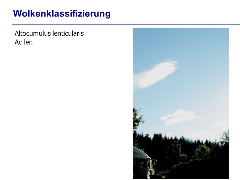 Wolkenklassifizierung Altocumulus lenticularis Ac len
