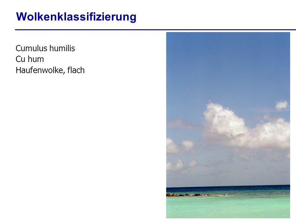 Wolkenklassifizierung Cumulus humilis Cu hum Haufenwolke, flach