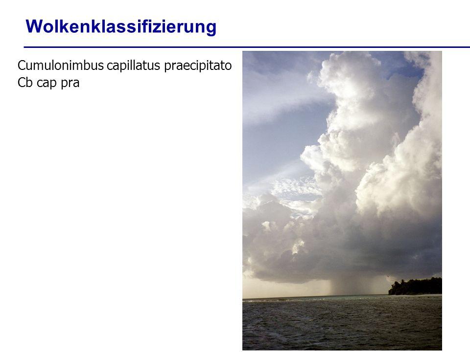 Wolkenklassifizierung Cumulonimbus capillatus praecipitato Cb cap pra