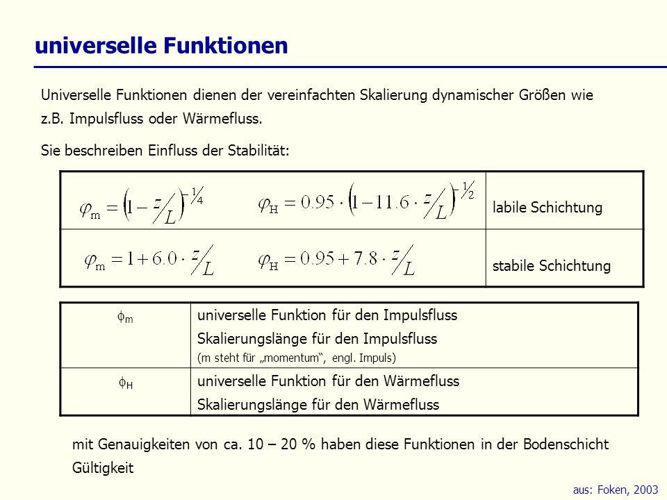 aus: Foken, 2003 universelle Funktionen Universelle Funktionen dienen der vereinfachten Skalierung dynamischer Größen wie z.B. Impulsfluss oder Wärmef