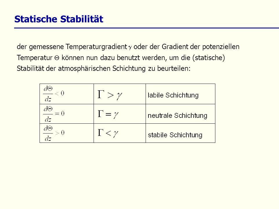 Statische Stabilität der gemessene Temperaturgradient oder der Gradient der potenziellen Temperatur können nun dazu benutzt werden, um die (statische)