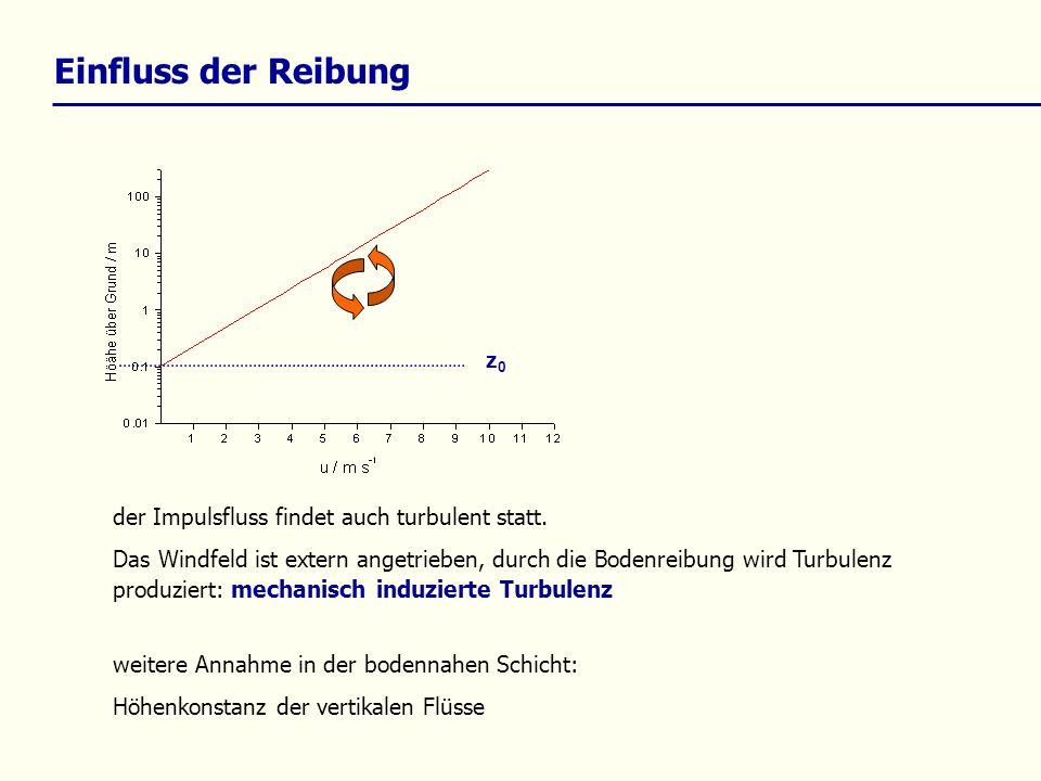 Einfluss der Reibung die Voraussetzungen für die Annahme des logarithmischen Windprofiles gelten für idealisierte neutrale Stabilitätsbedingungen, mit Höhenkonstanz des Impulsflusses Das heißt, es tritt keine thermisch induzierte Turbulenz auf.