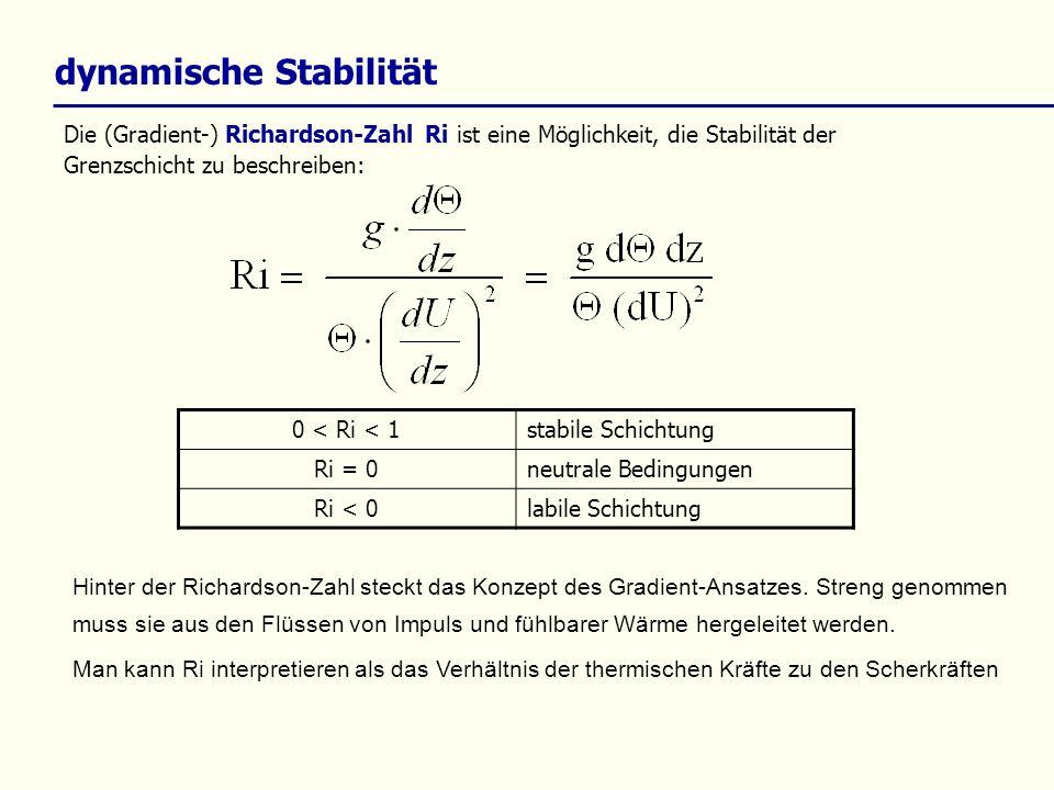 dynamische Stabilität Die (Gradient-) Richardson-Zahl Ri ist eine Möglichkeit, die Stabilität der Grenzschicht zu beschreiben: 0 < Ri < 1stabile Schic