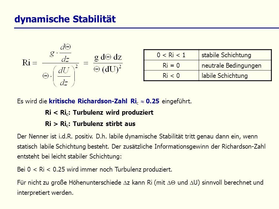 Stabilitätsklassen StabilitätAusbreitung sklasse (Klug – Manier) PasquillRidT/dz (K/100 m) Obukhov – Länge L/ m G Ri 0.494.0 dT/dz sehr stabil IF 0.49 > Ri 0.1961.5 dT/dZ < 4.0 60 stabil IIE 0.196 > Ri 0.083 -0.5 dT/dZ < 1.5 250 indiffere nt III/1D 0.083 > Ri - 0.569 -1.5 dT/dZ < -0.5 5000 indiffere nt III/2C -0.569 > Ri - 2.26 -1.7 dT/dZ < -1.5 -300 labil IVB -2.26 > Ri - 5.34 -1.9 dT/dZ < -1.7 -100 sehr labil VA -5.34 > RidT/dz > -19-30 VDI 3782 Blatt 1 Foken (2003) Mohan, M.