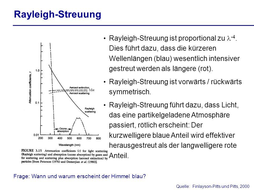 Quelle:Finlayson-Pitts und Pitts, 2000 Rayleigh-Streuung ist proportional zu -4. Dies führt dazu, dass die kürzeren Wellenlängen (blau) wesentlich int
