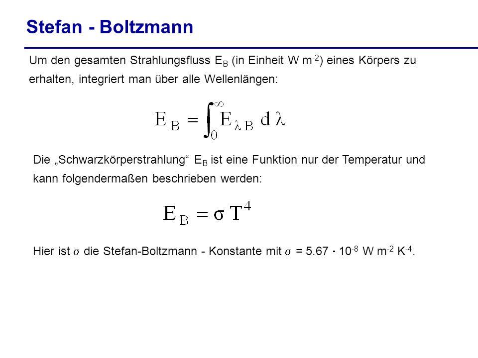 Stefan - Boltzmann Um den gesamten Strahlungsfluss E B (in Einheit W m -2 ) eines Körpers zu erhalten, integriert man über alle Wellenlängen: Die Schw