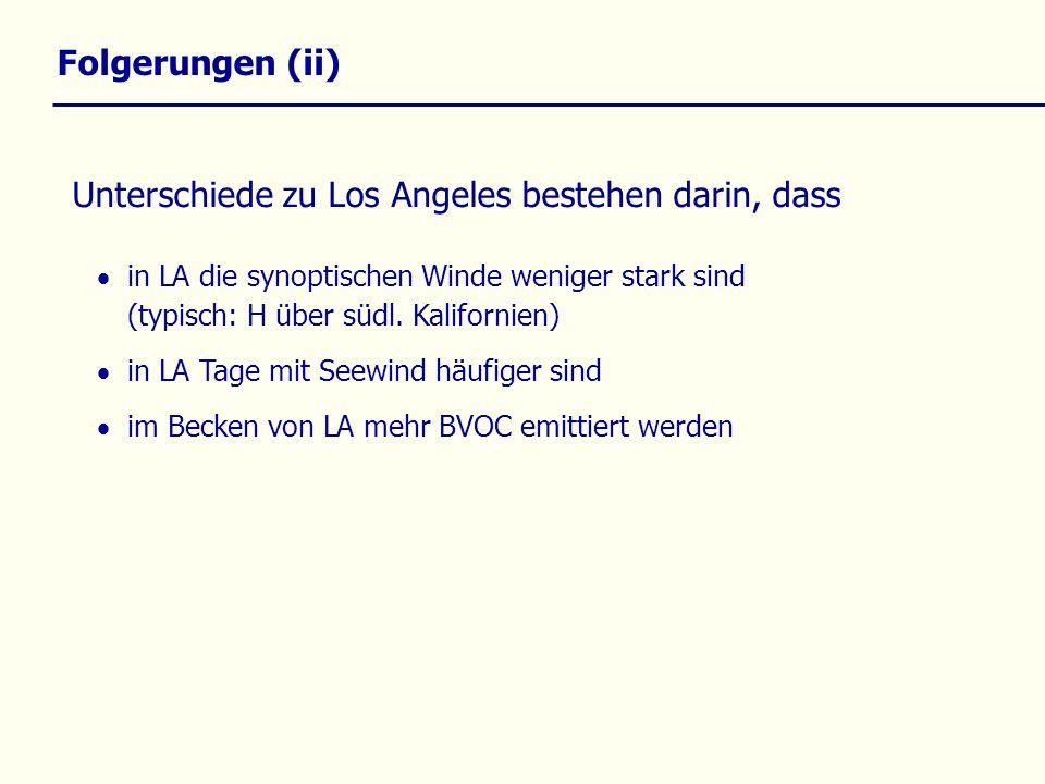 Folgerungen (ii) in LA die synoptischen Winde weniger stark sind (typisch: H über südl.
