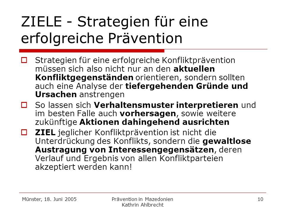 Münster, 18. Juni 2005Prävention in Mazedonien Kathrin Ahlbrecht 10 ZIELE - Strategien für eine erfolgreiche Prävention Strategien für eine erfolgreic
