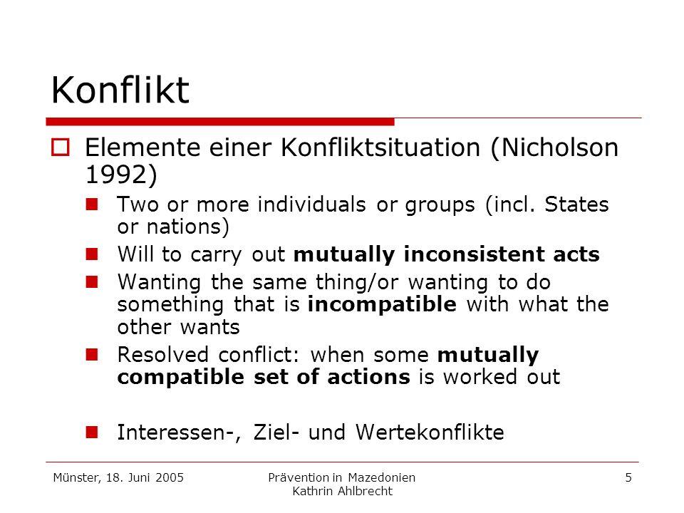 Münster, 18. Juni 2005Prävention in Mazedonien Kathrin Ahlbrecht 5 Konflikt Elemente einer Konfliktsituation (Nicholson 1992) Two or more individuals