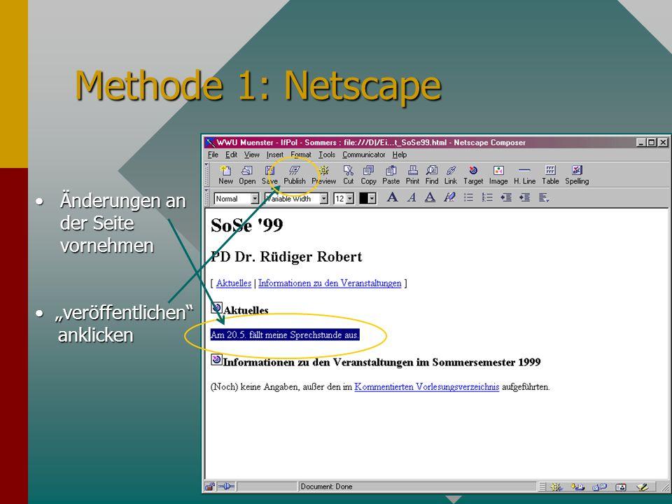 Methode 1: Netscape Änderungen an der Seite vornehmenÄnderungen an der Seite vornehmen veröffentlichen anklicken veröffentlichen anklicken