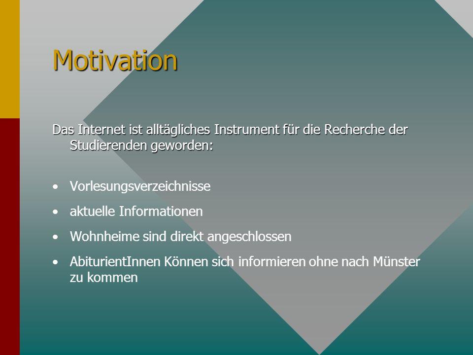 Motivation Das Internet ist alltägliches Instrument für die Recherche der Studierenden geworden: Vorlesungsverzeichnisse aktuelle Informationen Wohnheime sind direkt angeschlossen AbiturientInnen Können sich informieren ohne nach Münster zu kommen