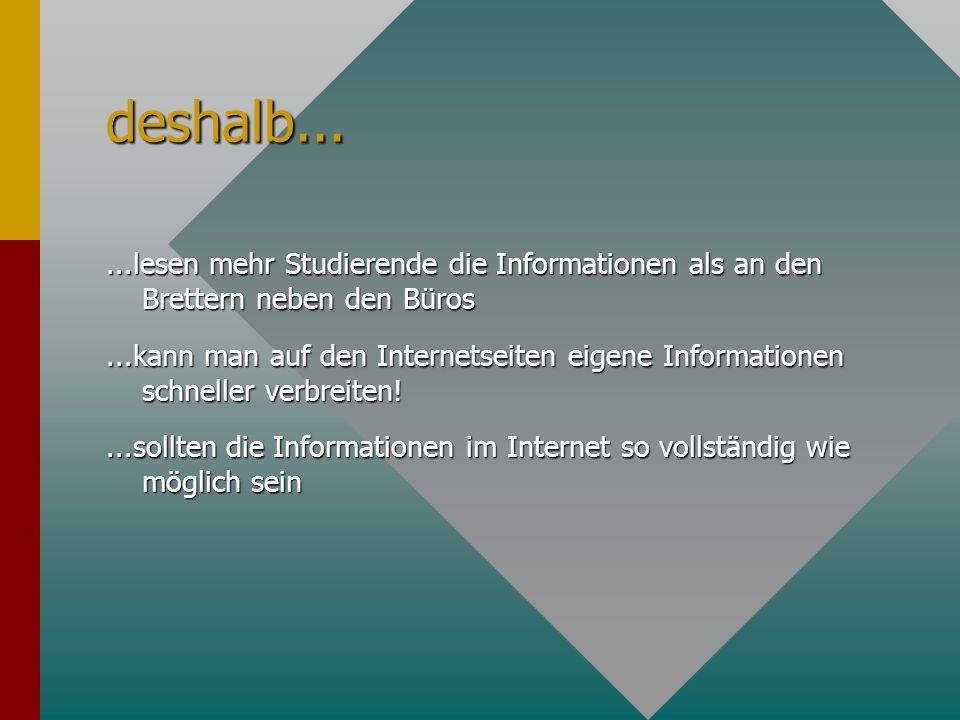 deshalb......lesen mehr Studierende die Informationen als an den Brettern neben den Büros...kann man auf den Internetseiten eigene Informationen schneller verbreiten!...sollten die Informationen im Internet so vollständig wie möglich sein