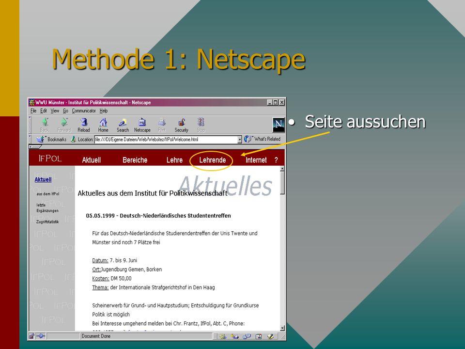 Methode 2: HTML editor Sausage Editierfenster Übersicht über HTML tags Vorschau: wie erscheint die Seite im Browser Editierhilfen
