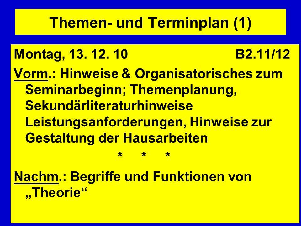 Themen- und Terminplan (1) Montag, 13. 12. 10 B2.11/12 Vorm.: Hinweise & Organisatorisches zum Seminarbeginn; Themenplanung, Sekundärliteraturhinweise