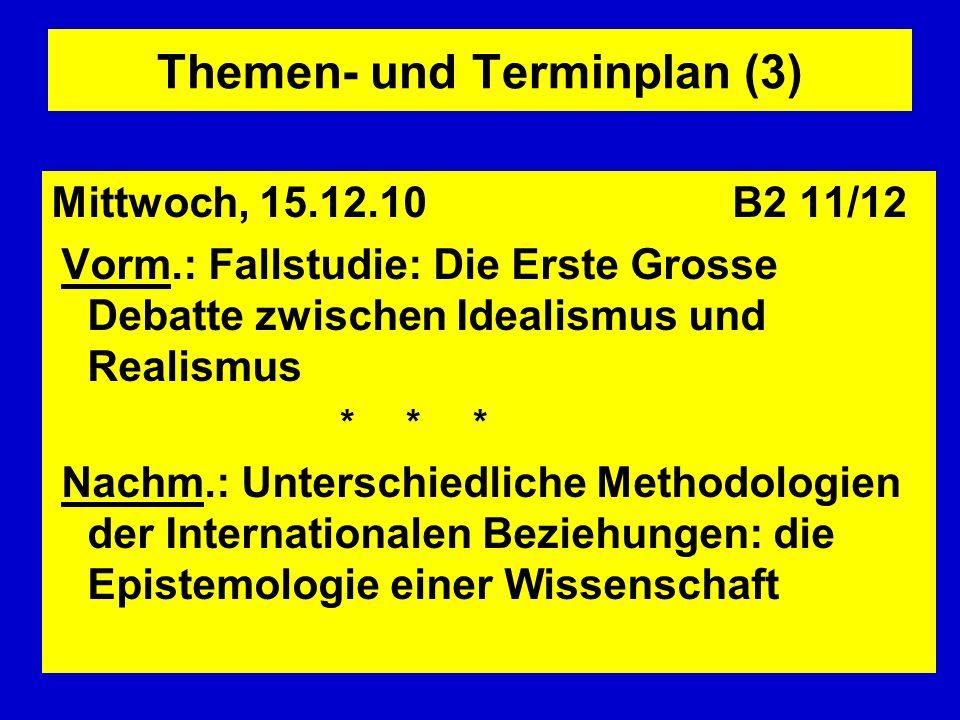 Themen- und Terminplan (3) Mittwoch, 15.12.10 B2 11/12 Vorm.: Fallstudie: Die Erste Grosse Debatte zwischen Idealismus und Realismus * * * Nachm.: Unt