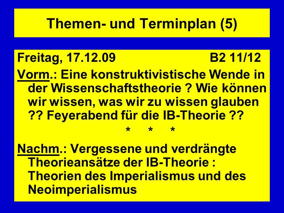 Themen- und Terminplan (5) Freitag, 17.12.09 B2 11/12 Vorm.: Eine konstruktivistische Wende in der Wissenschaftstheorie ? Wie können wir wissen, was w