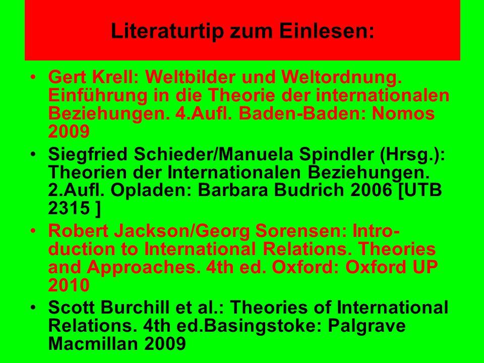 Literaturtip zum Einlesen: Gert Krell: Weltbilder und Weltordnung. Einführung in die Theorie der internationalen Beziehungen. 4.Aufl. Baden-Baden: Nom