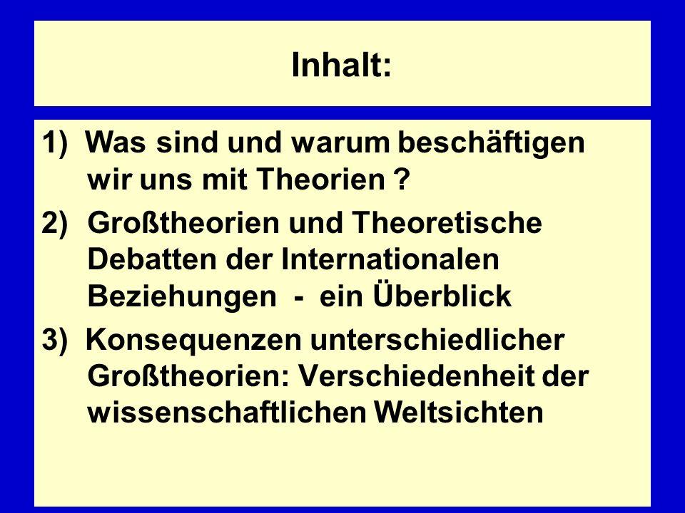 Inhalt: 1) Was sind und warum beschäftigen wir uns mit Theorien ? 2)Großtheorien und Theoretische Debatten der Internationalen Beziehungen - ein Überb
