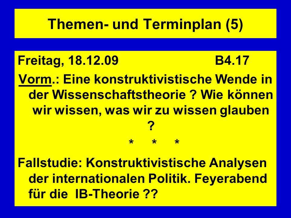 Themen- und Terminplan (5) Freitag, 18.12.09 B4.17 Vorm.: Eine konstruktivistische Wende in der Wissenschaftstheorie ? Wie können wir wissen, was wir