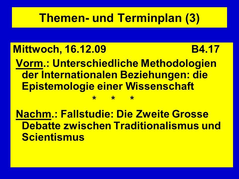 Themen- und Terminplan (3) Mittwoch, 16.12.09 B4.17 Vorm.: Unterschiedliche Methodologien der Internationalen Beziehungen: die Epistemologie einer Wis