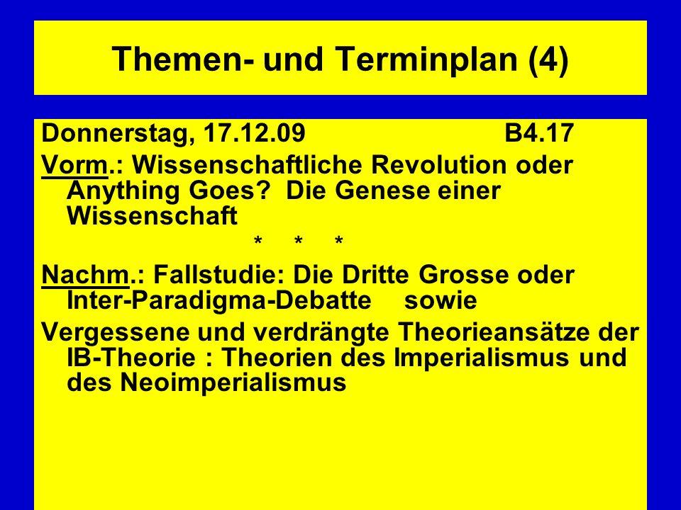 Themen- und Terminplan (4) Donnerstag, 17.12.09 B4.17 Vorm.: Wissenschaftliche Revolution oder Anything Goes? Die Genese einer Wissenschaft * * * Nach
