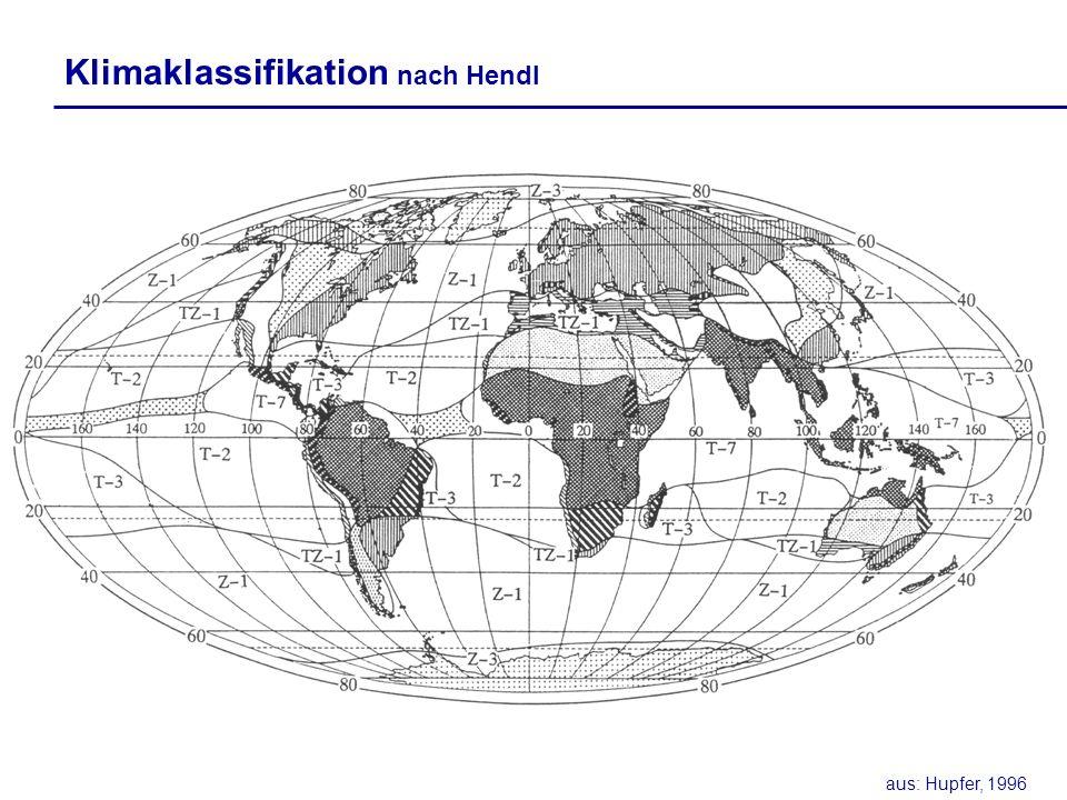 Klimaklassifikation nach Hendl aus: Hupfer, 1996