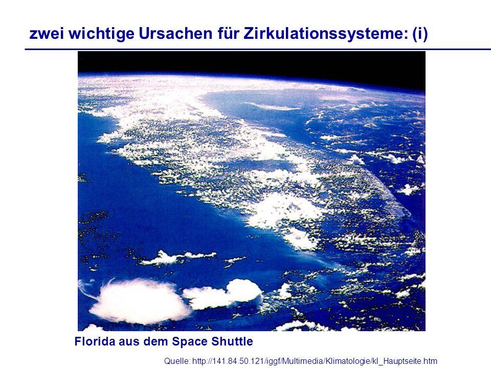 Quelle: http://141.84.50.121/iggf/Multimedia/Klimatologie/kl_Hauptseite.htm Florida aus dem Space Shuttle zwei wichtige Ursachen für Zirkulationssyste