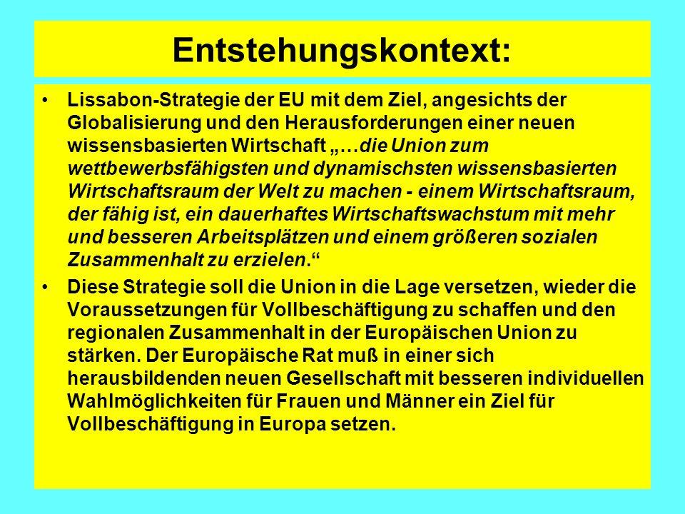 Entstehungskontext II Die Umsetzung dieser Strategie wird mittels der Verbesserung der bestehenden Prozesse erreicht, wobei eine neue offene Methode der Koordinierung auf allen Ebenen, gekoppelt an eine stärkere Leitungs- und Koordinierungsfunktion des Europäischen Rates, eingeführt wird, die eine kohärentere strategische Leitung und eine effektive Überwachung der Fortschritte gewährleisten soll.